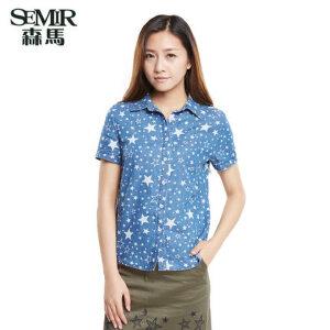 森马夏装新款短袖衬衫韩版女装方领水洗牛仔星星印花衬衣