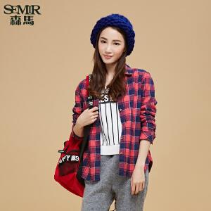 森马长袖格子衬衫 冬装新款 女士方领休闲直筒衬衣韩版潮女装