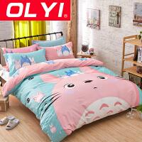 OLYI 纯棉床上用品四件套 全棉斜纹印花床单式家纺四件套 全棉床品四件套 床上四件套