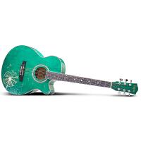 Saysn思雅晨40寸民谣吉他初学者木吉他新手入门吉它乐器jita绿色蒲公英套装