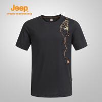 【领券立减60元】Jeep/吉普 男士户外防晒短袖T恤夏季圆领速干透气短袖T恤J641107006