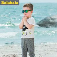 巴拉巴拉男童套装纯棉小童宝宝童装夏季儿童短袖裤子两件套男