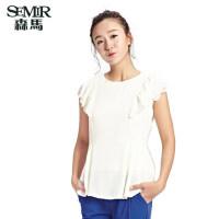 森马 夏装新款 短袖衬衫女装圆领中长款雪纺衫韩版公主袖衬衫