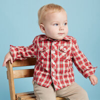 davebella戴维贝拉男童秋季新款加绒保暖长袖格子衬衫22075