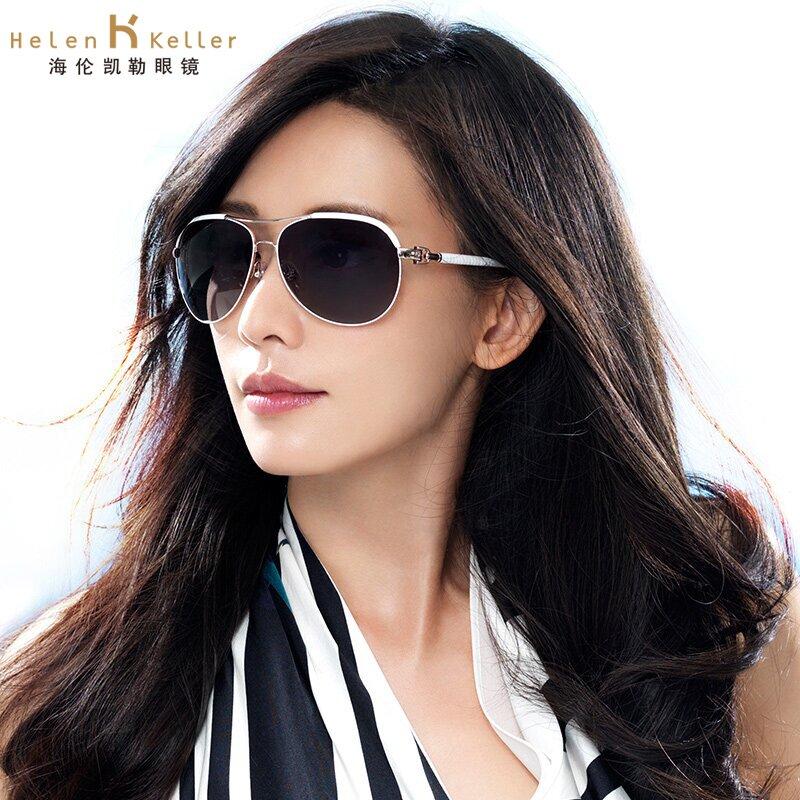 海伦凯勒太阳镜女 广告款金属偏光蛤蟆镜 偏光太阳镜女士H1348_象牙白P06