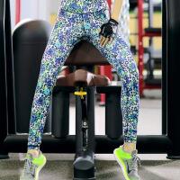 健身房跑步弹力紧身印花运动裤女夏薄款舞蹈裤长裤小脚瑜伽裤花色