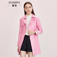 【海贝超级品牌日 买三免一再满减】海贝春季新品 经典双排扣系带英伦风时尚风衣女外套