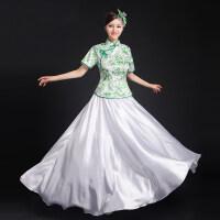 大合唱服长裙古典青花瓷礼服现代学生服装连衣裙古筝演出服女