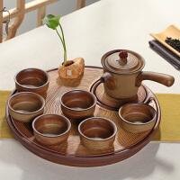 思故轩 粗陶整套干泡茶盘侧把壶陶瓷功夫茶具套装 茶壶茶杯茶台托CJT1718