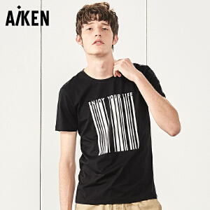 Aiken短袖T恤男士2017夏装新款圆领体恤男生字母印花半袖上衣青年