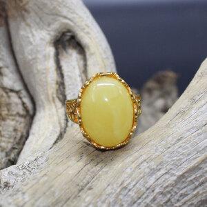 波罗的海天然蜜蜡纯银镶嵌戒指 重约5.2克