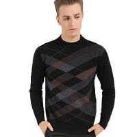 冬季男士羊毛衫高档100%羊羔毛针织衫拼色圆领男装
