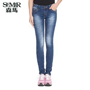 森马夏装新款牛仔裤 女装中低腰水洗裤子韩版紧身窄脚长裤女