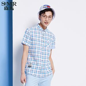 森马短袖衬衫 夏装 男士翻领格子纯棉直筒衬衣韩版潮男