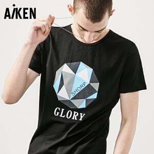 Aiken短袖T恤男士2017夏装新款黑色圆领潮流字母半袖上衣男