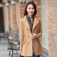 冬季新款女式毛呢大衣韩版修身中长款双排扣外套女式大衣上衣