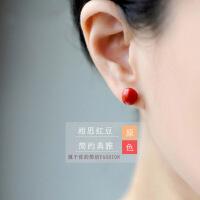 相思树 925银针素银小红豆耳钉 女款韩版时尚银饰品红色豆子耳环 简约气质耳饰