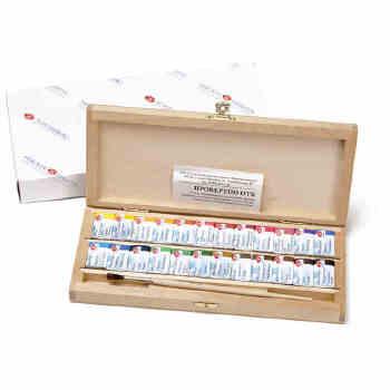 俄罗斯3k白夜全尺寸固体水彩颜料长方形木盒套装 24色 配画笔,俄罗斯
