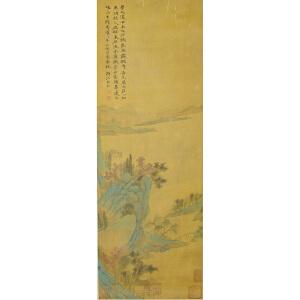 1465     弘仁《青绿山水》   多位名家收藏章,原装旧裱满斑