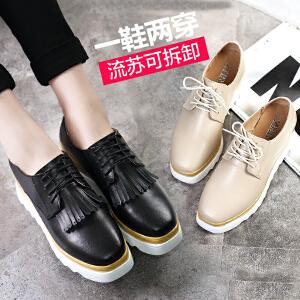 ZHR2017春季新款真皮休闲鞋坡跟女鞋英伦风松糕鞋女厚底系带单鞋女R98