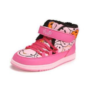 鞋柜SHOEBOX冬款女童魔术贴印花高帮加绒加厚男童休闲鞋