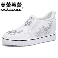 莫蕾蔻蕾  女鞋休闲浅口韩版水钻内坡跟低帮乐福鞋 6Q366
