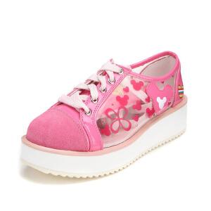 鞋柜SHOEBOX 大童中童女童鞋春款单鞋新潮时尚系带休闲鞋小孩童鞋