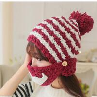 保暖口罩护耳帽毛线帽子 女秋冬天潮加绒加厚可爱针织帽冬季