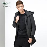 七匹狼夹克 新款时尚男中长款连帽单茄克米兰外套 男装 1015637