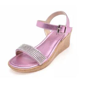 鞋柜2016夏季新款水钻魔术贴坡跟露趾女童鞋凉鞋