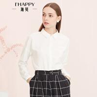 【8.23上新】海贝年春季新款女 翻领纯色长袖雪纺衬衫