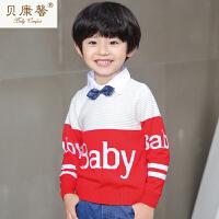【当当自营】贝康馨童装 男童Baby拼色套头毛衫 韩版时尚字母元素针织毛衫新款秋装