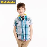 巴拉巴拉男童格子衬衫短袖中大童童装儿童学生纯棉衬衣男