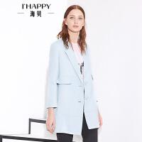 【8.9上新】海贝春款中长款上衣女装 翻领纯色时尚大衣外套