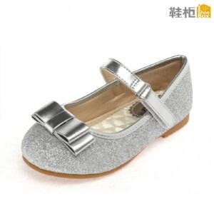 鞋柜 荧光亮片蝴蝶结魔术贴女童鞋皮鞋