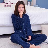 康妮雅睡衣 女士秋冬中厚款夹棉印花长袖居家休闲套装 可外穿
