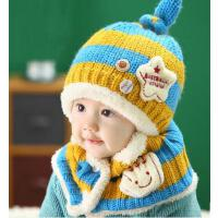 宝宝毛绒帽婴儿毛线帽冬婴幼儿针织帽子围巾套装套帽 韩版儿童帽子