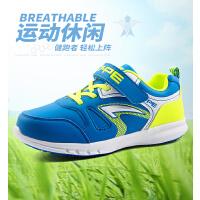 七波辉男童鞋 运动鞋2017新款春秋款透气皮面鞋中大童休闲跑步鞋