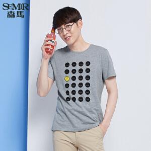 森马短袖T恤 春装 男士纯棉休闲印花针织T恤韩版潮T男装