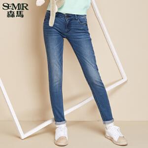 森马牛仔裤 秋装 女士中低腰修身小脚水洗牛仔长裤韩版潮