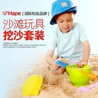 进口德国正品hape儿童沙滩玩具 宝宝玩沙大号工具套装 铲子四件套