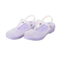 潮路思夏季变色鞋洞洞鞋果冻鞋女士凉拖鞋沙滩鞋平跟鞋花园鞋夏包头鞋CLS-010 浅紫色
