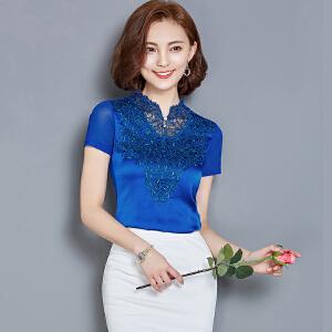 【当当年中庆】波柏龙 夏装新款韩版修身大码女装百搭网纱蕾丝短袖打底衫9123