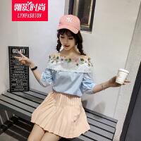 翎影时尚 2017夏季七分袖花朵荷叶边一字领衬衫女露肩上衣
