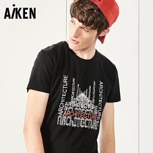 Aiken短袖T恤男士2017夏装新款圆领时尚印花体恤男短袖上衣青年潮