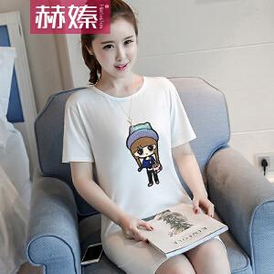 【满200减100】【赫��】2017夏季新款韩版中长款短袖t恤女装韩国夏天宽松百搭学生上衣服H6652