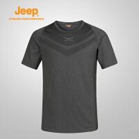 【全场2.5折起】Jeep/吉普 2017夏季男士舒适透气吸湿排汗运动速干T恤J671011674