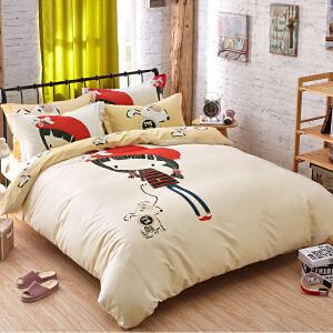 OLYI 纯棉床上用品四件套 全棉斜纹活性印花床单式家纺四件套 约定床品四件套 床上四件套