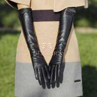 送女朋友圣诞礼物 女士过肘全触控长款羊皮真皮毛一体手套 秋冬季出行保暖加厚袖套手臂套