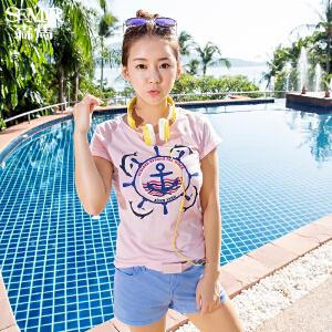 森马短袖T恤 夏装 女士圆领立体印花字母直筒t恤韩版短T